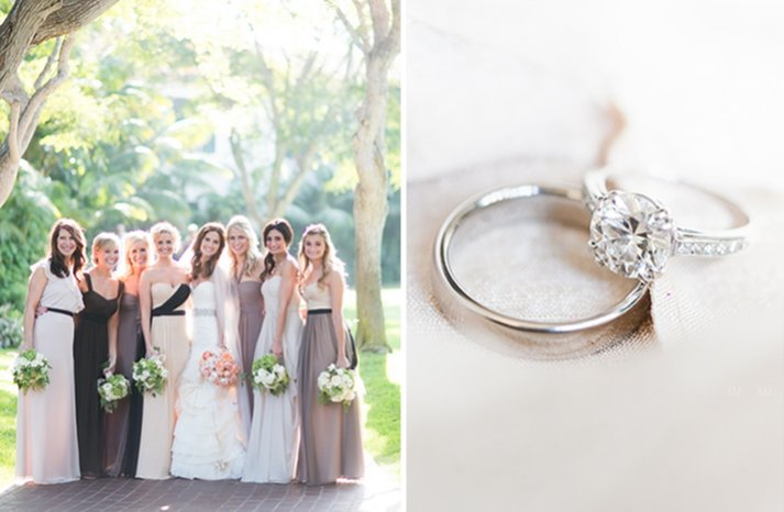 Round brilliant diamond engagement ring and mix and match bridesmaids