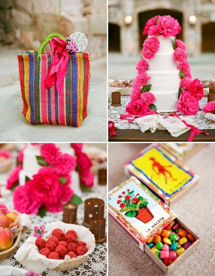Bright destination wedding in Mexico peony adorned cake
