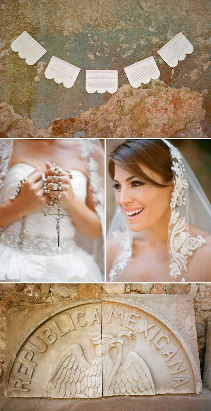 Real wedding in Mexico romantic bridal veil and jewelry