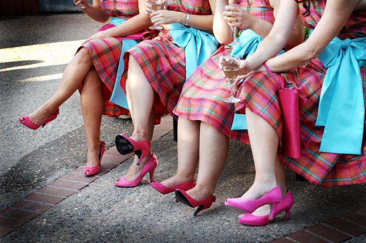pink aqua tartan bridesmaid dresses