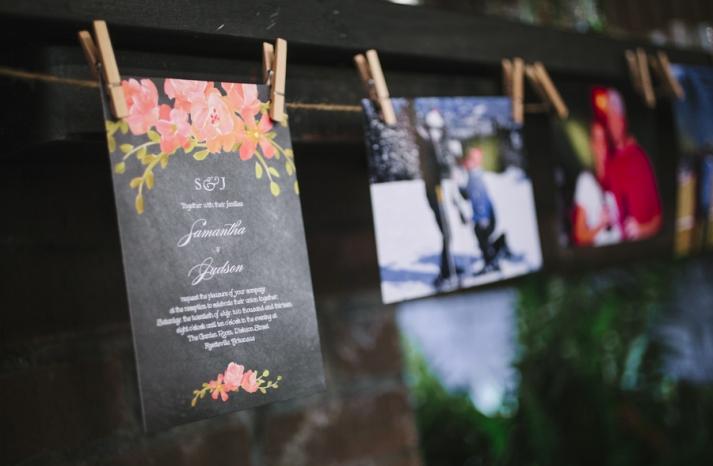 Bright summer wedding invitation and reception decor