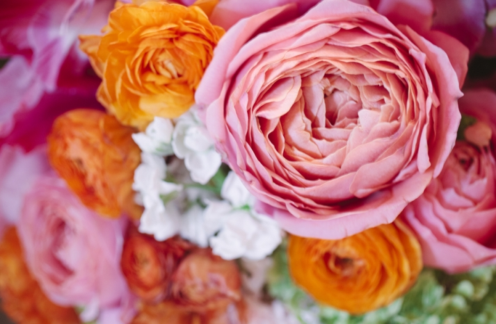 Bright summer wedding romantic pink and orange bouquet