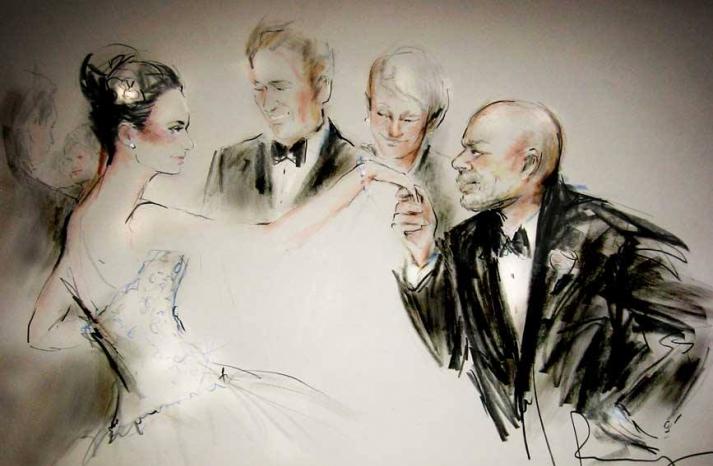 Elegant wedding illustration by Rosemary Fanti