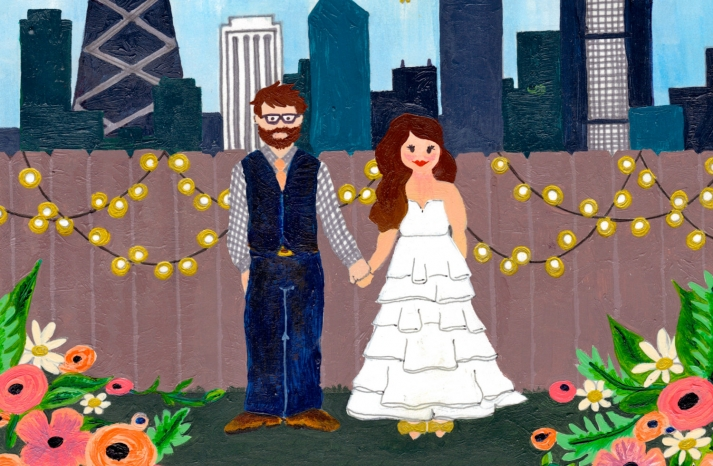 adorable bride and groom illustrated portrait