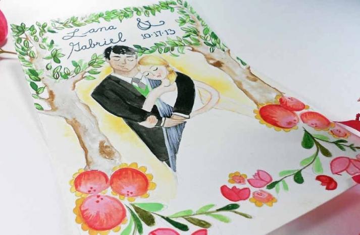 romantic watercolor wedding portrait of bride and groom
