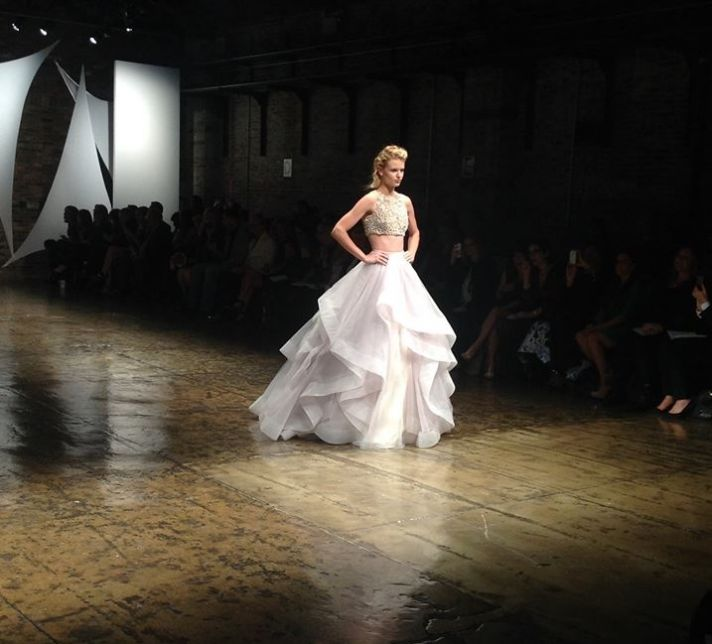 hayley paige two piece wedding dress with cropped crystal top