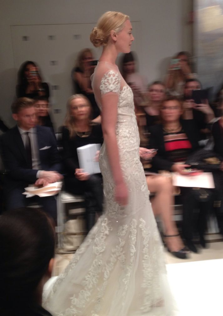 Reem Acra Fall 2014 bridal lace sleeves