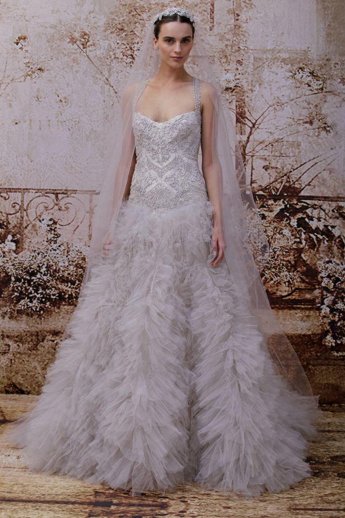 Wedding dress by Monique Lhuillier Fall 2014 bridal Look 34