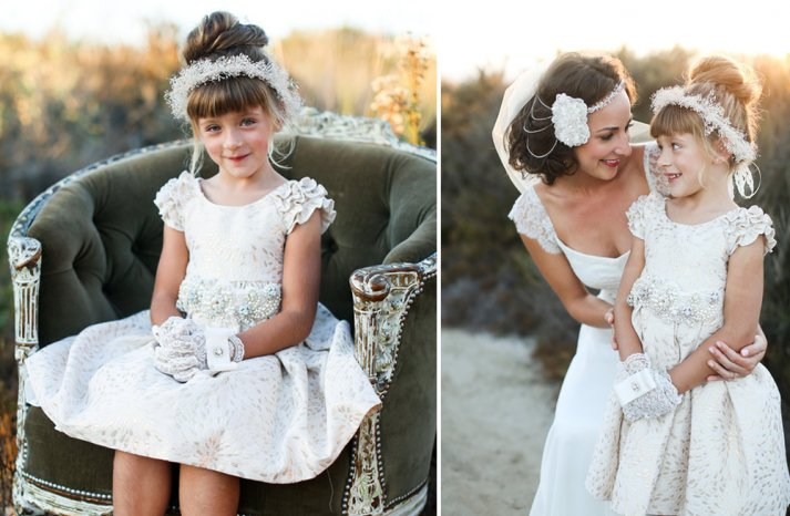 embellished lace flower girl dress with ruffled cap sleeves