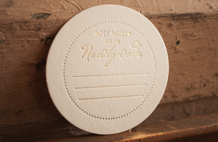 blush and gold wedding advice coasters