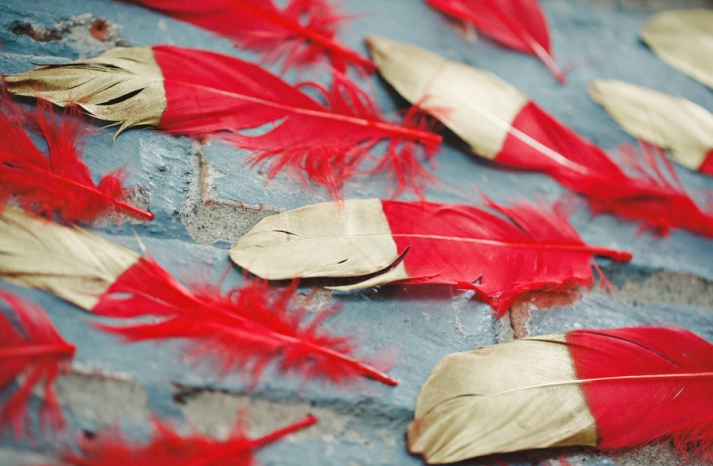 gold foil dipped red feathers for wedding decor