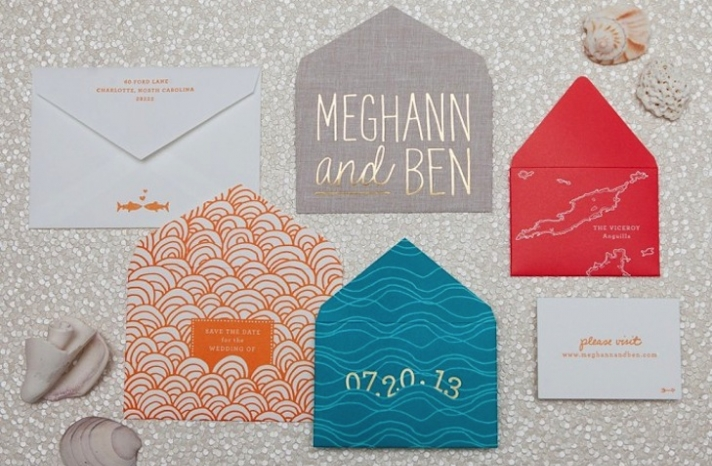 bright beach wedding invitations with gold foil accents