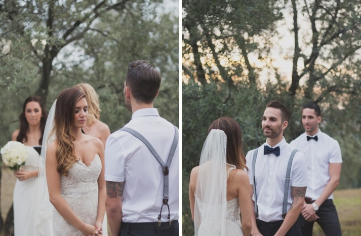 Cool casual groom in bow tie and suspenders 2
