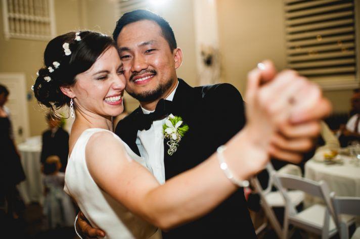 Rustic elegant wedding bride and groom first dance