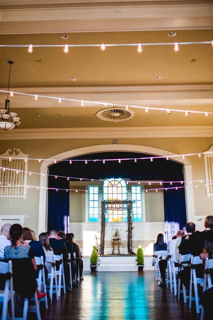 whimsical ceremony venue with italian lights