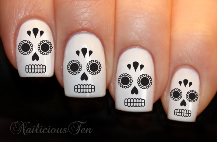 white and black wedding nails for Day of the Dead theme