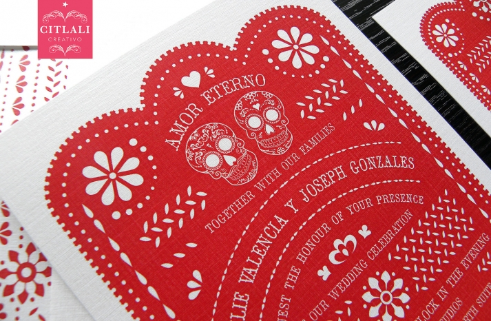 red and white Day of the Dead wedding invitations