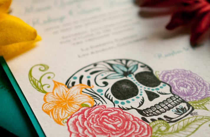 Day of the dead elegant bright wedding invitations
