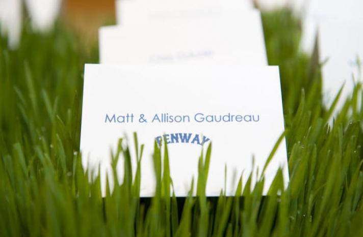 Fenway baseball themed wedding escort cards