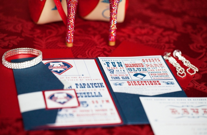 blue red and white baseball themed wedding invites