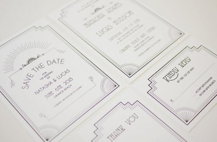 elegant white and black art deco wedding invitation set