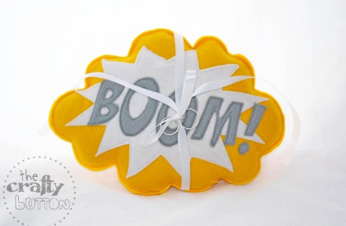 Boom ring bearer pillow for pop art weddings