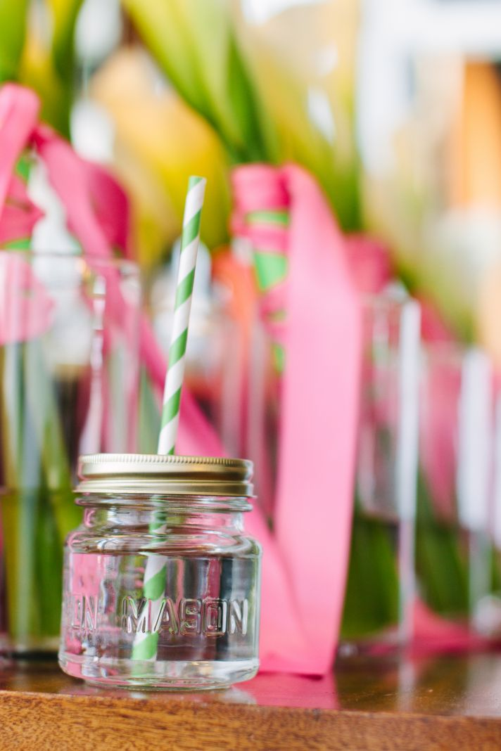 Mason Jars striped straws and hot pink bouquet ribbons