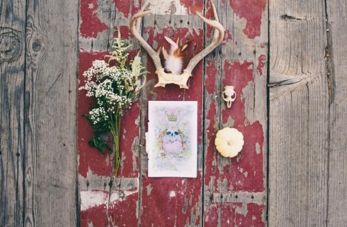 Portland real wedding goth invitations