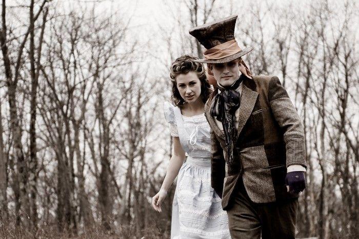 Artsy Alice in Wonderland wedding engagement session