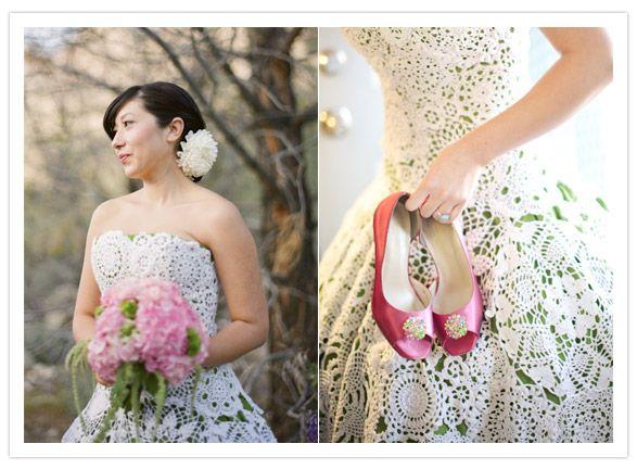 cream over green crochet wedding dress