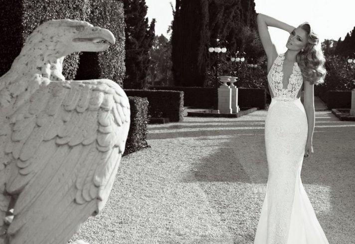 crochet halter plunging neckline wedding dress