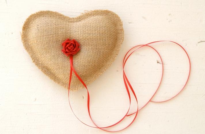 burlap heart wedding ring bearer pillow