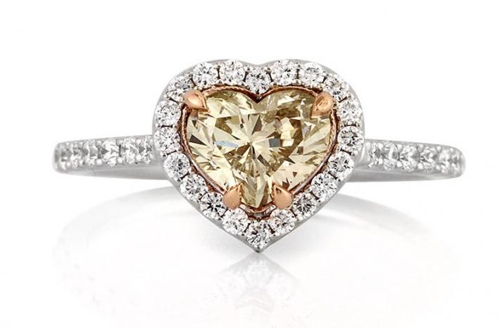 light brown heart shaped diamond engagement ring