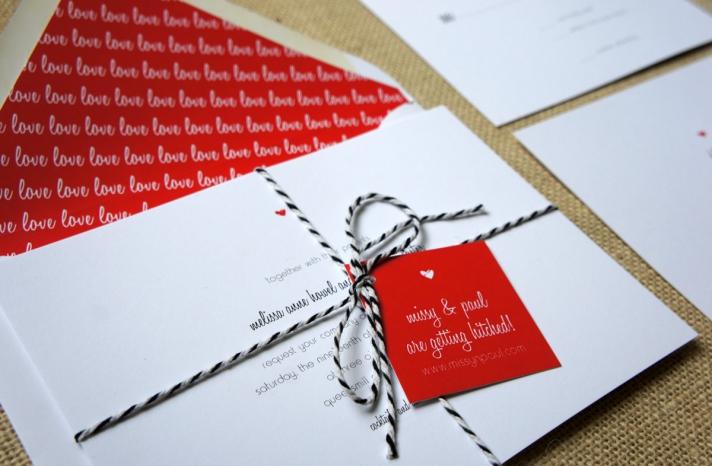 modern hearts and love wedding invite