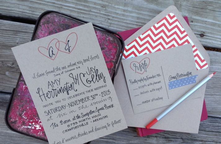 whimsical heart kraft paper wedding invitations