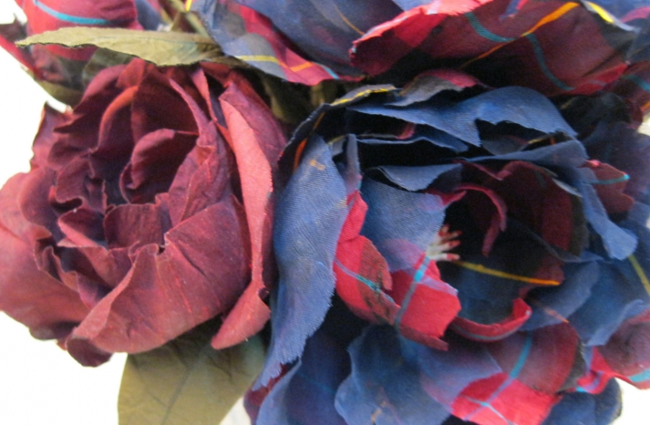 plaid peony alternative wedding bouquet