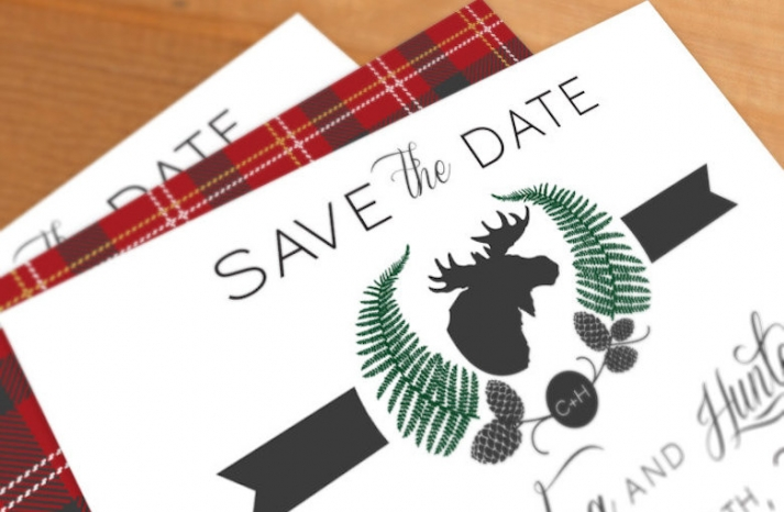 rustic plaid wedding save the date