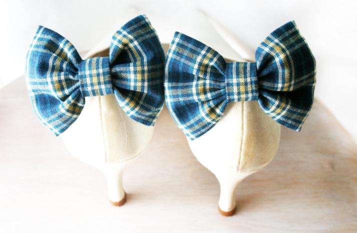 blue plaid wedding shoe clips