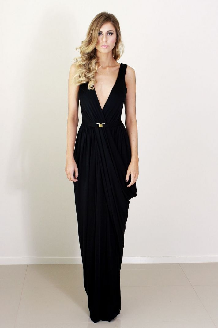 deep v black bridesmaid dress with belt