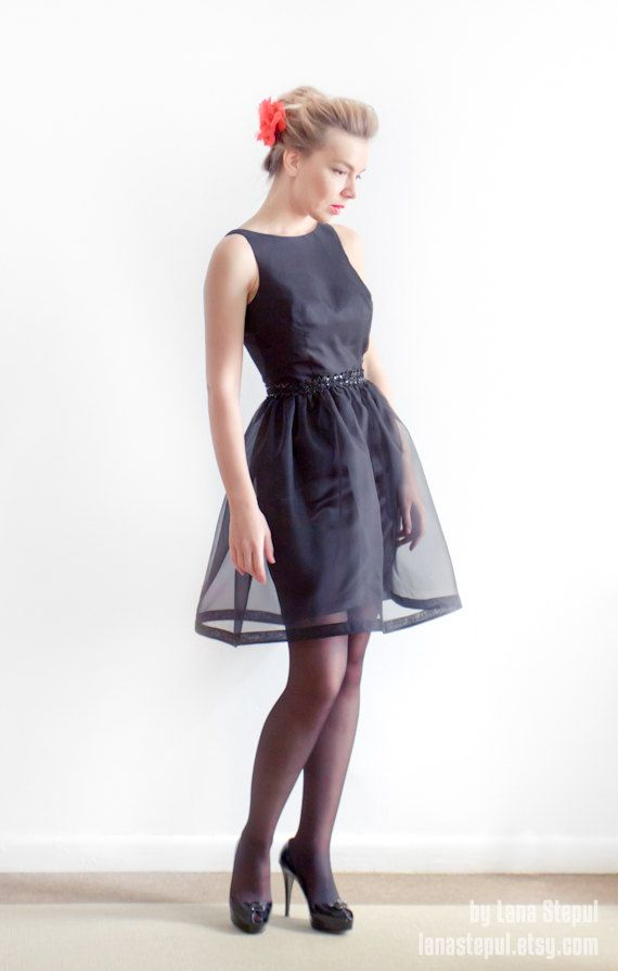 black organza bridesmaid dress with beaded sash