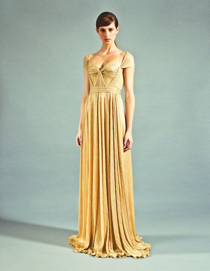 Wedding Dresses Yellow 11 Vintage golden beauty draped bridesmaid
