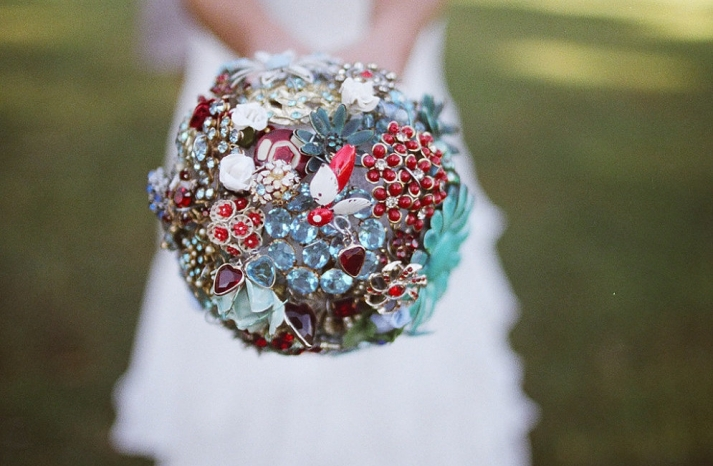 vintage custom brooch bouquet in red aqua silver