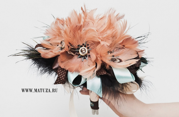 peach black and aqua feather wedding bouquet