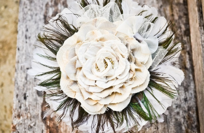 feathers and fabric wedding bouquet in cream white and green
