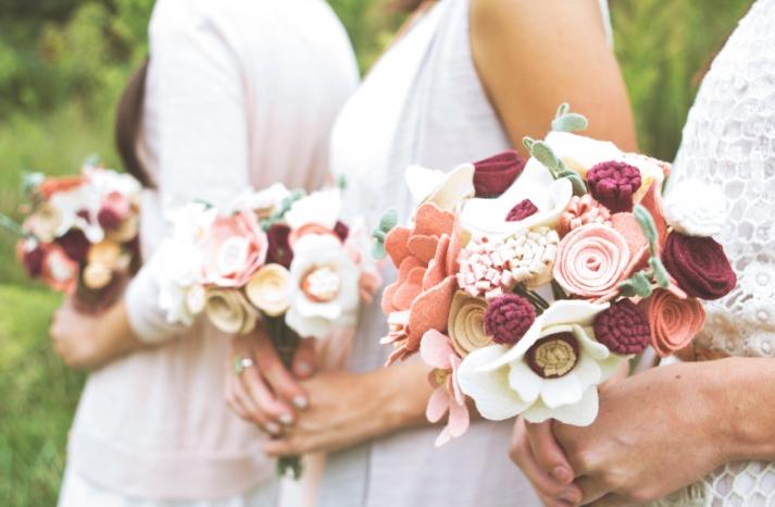 romantic felt bouquets for bridesmaids