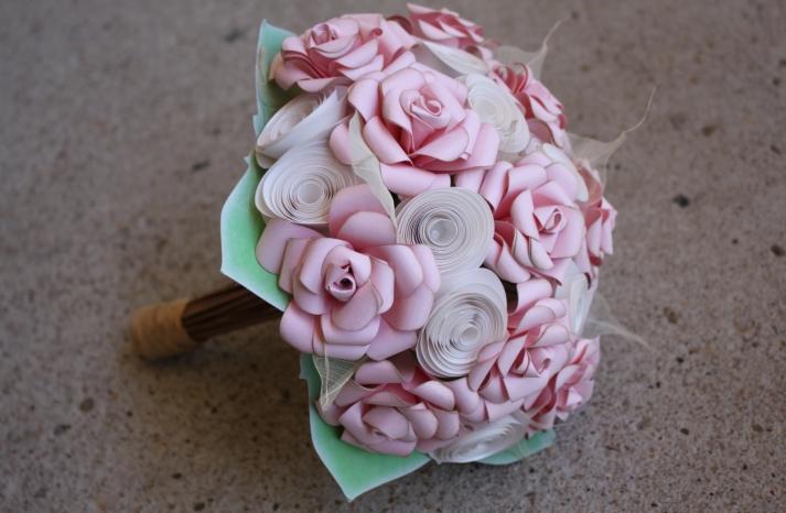 pale pink paper flower wedding bouquet
