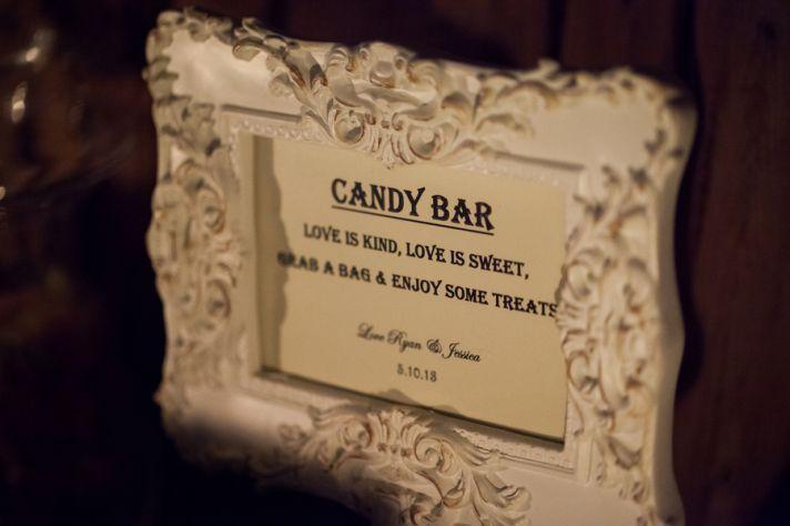 candy bar sign at southern plantation wedding