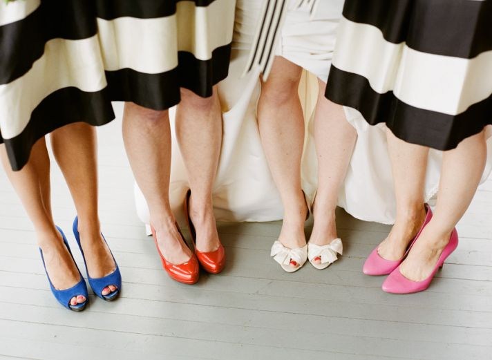 bridesmaids wear mix and match shoes with striped frocks