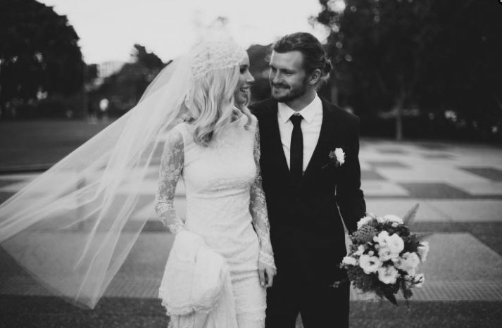lace sleeved bohemian wedding dress