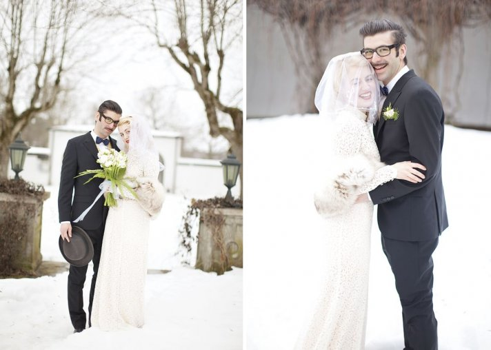 Winter bride and groom embrace during the first snow